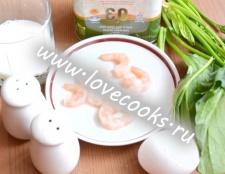 Омлет зі шпинатом і креветками
